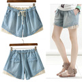 Summer Loose Large Size Women Lace Crochet Elastic Waist Cotton Shorts Mori Girl Preppy Style Denim Shorts with Button Pocket