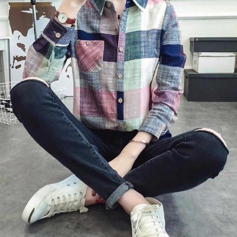 Fashion Women Autumn Casual Color font b Tartan b font Long Sleeve Shirt Slim Outerwear Loose