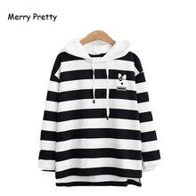 Merry Pretty Women Cartoon Dog Embroidery Striped Hooded Sweatshirt 2019 Autumn Winter Long Sleeve Hoodies Femme Casual Pullover