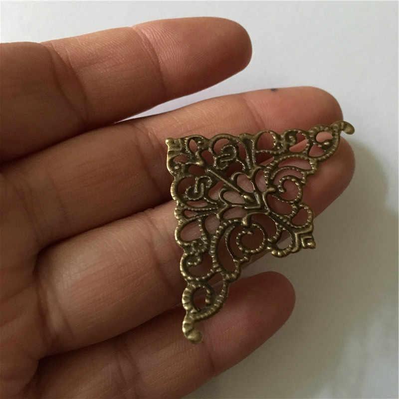 10Pc המשולש פיליגרן פרח כורכת קרושון עתיק ברונזה Flatback מתכת קישוטים רעיונות DIY תכשיטים, זרוק משלוח
