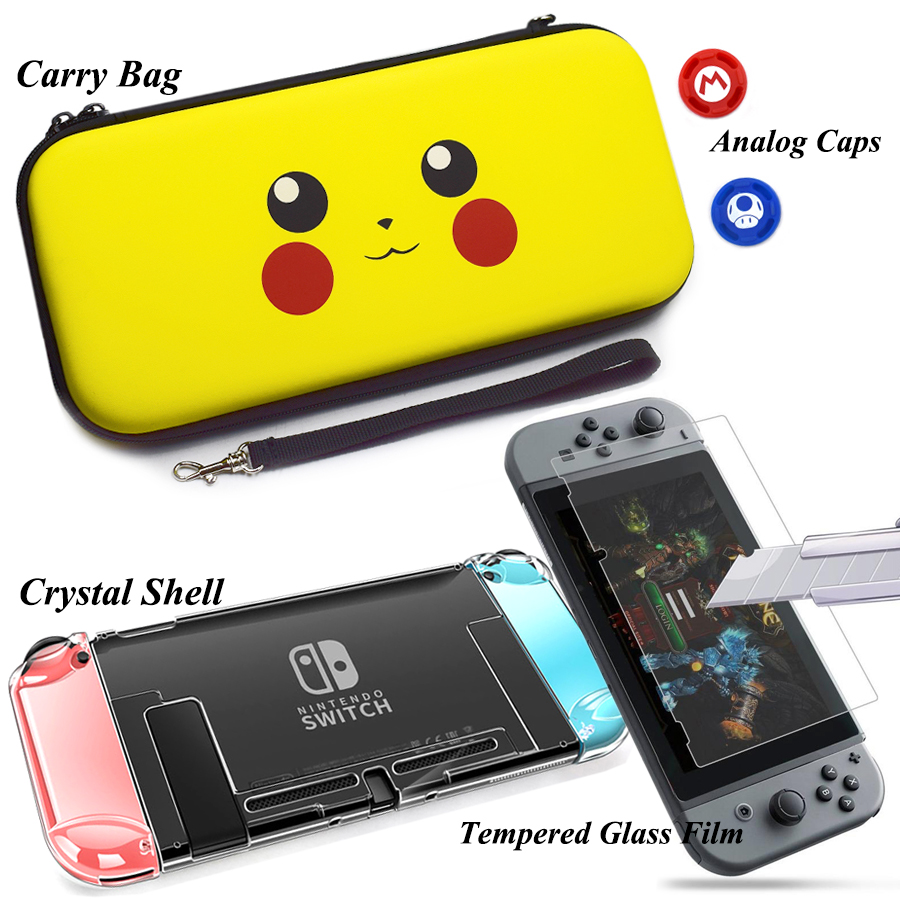 Nintend Switch Accessories Kit Carrying Bags & Tempered Glass Protector Film + Crystal Shell Case with Caps for Nintendo Switch