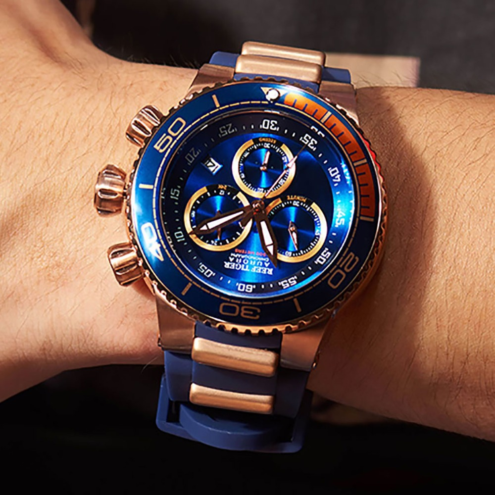 Reef Tigre/RT Top Brand di Lusso Blu Della Vigilanza di Sport per Gli Uomini In Oro Rosa Impermeabile Orologi Cinturino In Gomma Relogio Masculino RGA3168