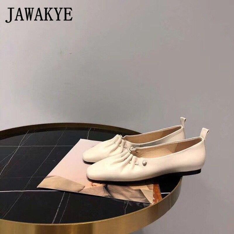 Femme Blanc Carré Paresseux En Les Tenue Plates Noir Chaussures Pour white Décontracté Glissement Bout Véritable 2019 Black Solide Femmes Nouveau Cuir Des Sur OwPFxq8