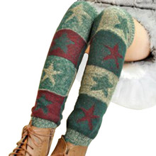 Amazing Hot Christmas Star Printed Striped Patchwork Women's Winter Warm Wool Acrylic Knitted Leg Warmers Boot Cuffs #OR цена