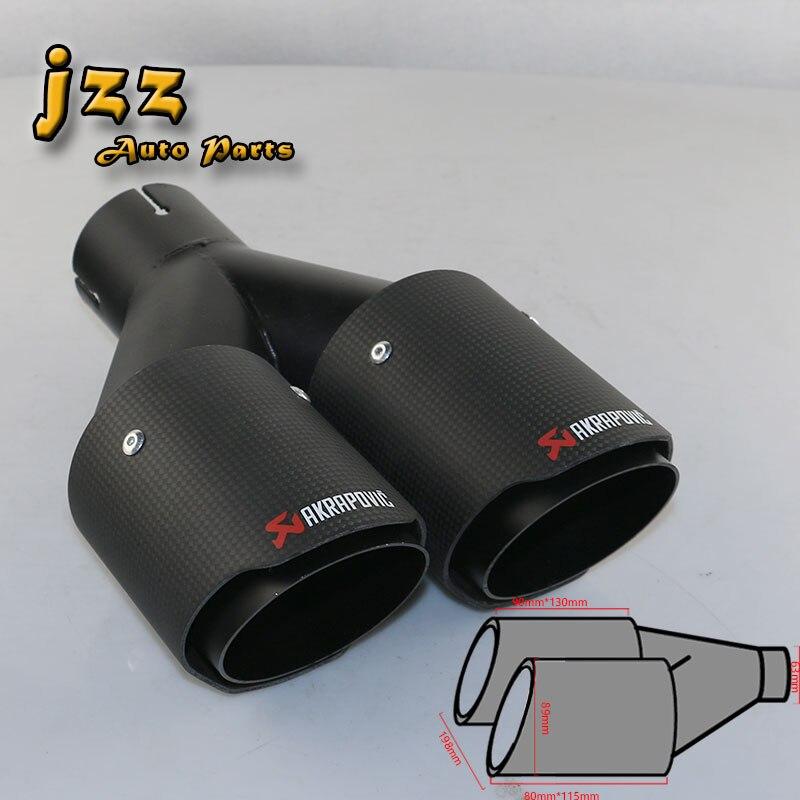 JZZ 1 PCS AKRAPOVIC EXHAUST TIP CARBON FIBER AKRAPOVIC  MUFFLER CAR DOOUBLE PIPE STAINLESS STEEL EXHAUST TIP ATOMOBILE SILENCER stylish stainless steel car exhaust pipe muffler tip