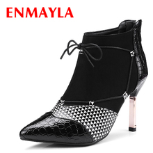 ENMAYLA Womens Autumn Mixed Colors Shoes Woman High Heels Pointed Toe Ankle Boots Women Lace-up Black Red