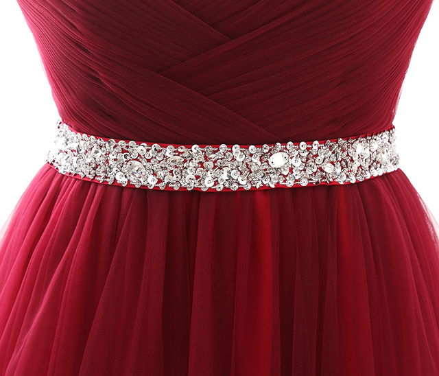 Simple 2020 Women Wine Red Evening Dress Formal Tulle Dresses Sweetheart Neckline Sequin Beaded Prom  GraduationParty Dress 6