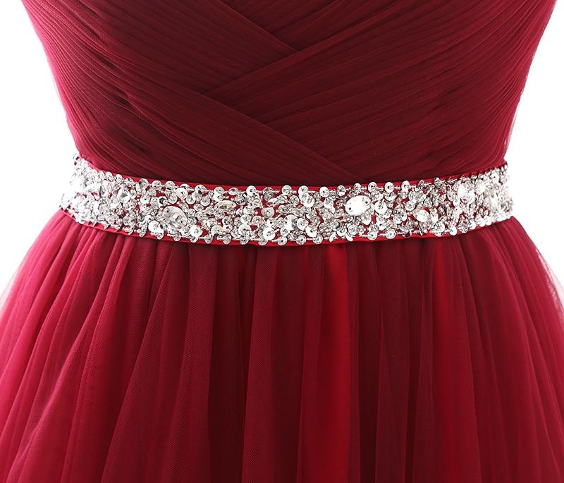 Simple 2018 femmes vin rouge robe de soirée formelle Tulle robes chérie décolleté Sequin perlé bal de promo robe de soirée - 6