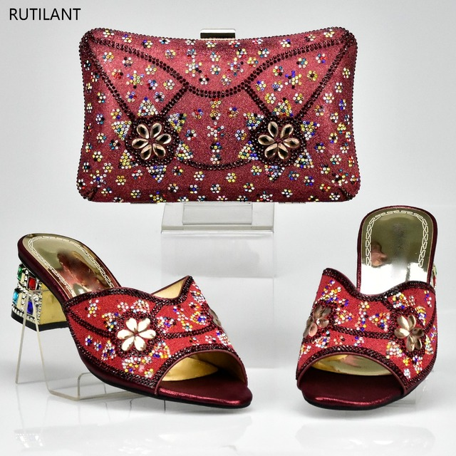 Italian Shoes With Matching Bags Wine Color Women And Bag Set Decorated Rhinestone