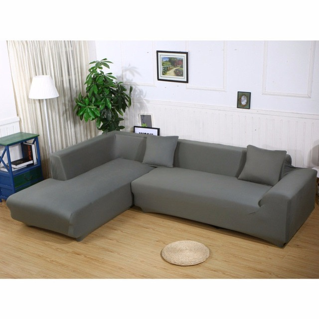 Enipate L Shape Stretch Elastic Fabric Sofa Cover Sectional Corner ...