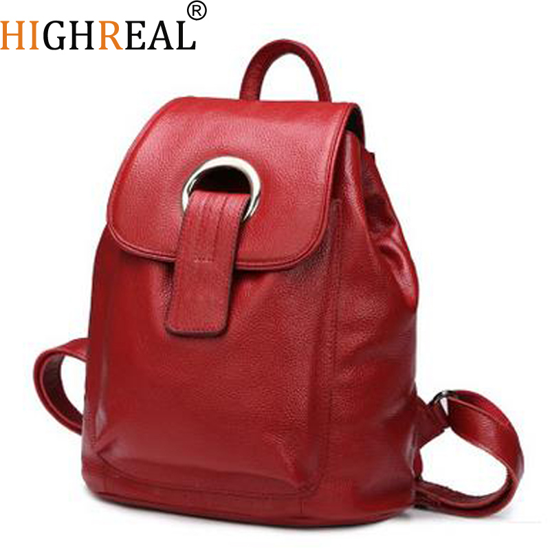 HIGHREAL Backpack Nautral Soft Real Leather Backpacks Genuine First Layer Cow Leather Top Layer Cowhide Women Backpack Tote Bags зубило rennsteig re 4210000 зубила 125мм 150мм пробойники 3мм 4мм кернер 4мм в наборе 6шт
