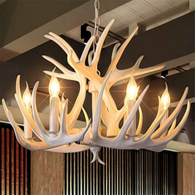 American Rural Creative Personality White Antler Chandeliers Living Room Restaurant Resin Creative Chandeliers Free Shipping