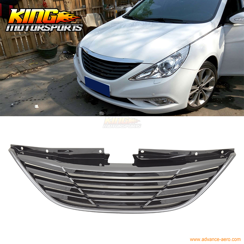 For 2011-2013 Hyundai Sonata Front Upper Bumper Hood Grille Horizontal Style USA Domestic Free Shipping for 02 05 dodge ram black sport billet front hood bumper grill grille frame abs usa domestic free shipping hot selling page 7