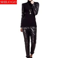 Fashion women high quality Sheep leather Turtleneck long leather sleeve shirt elastic waist pencil genuine leather pants suit