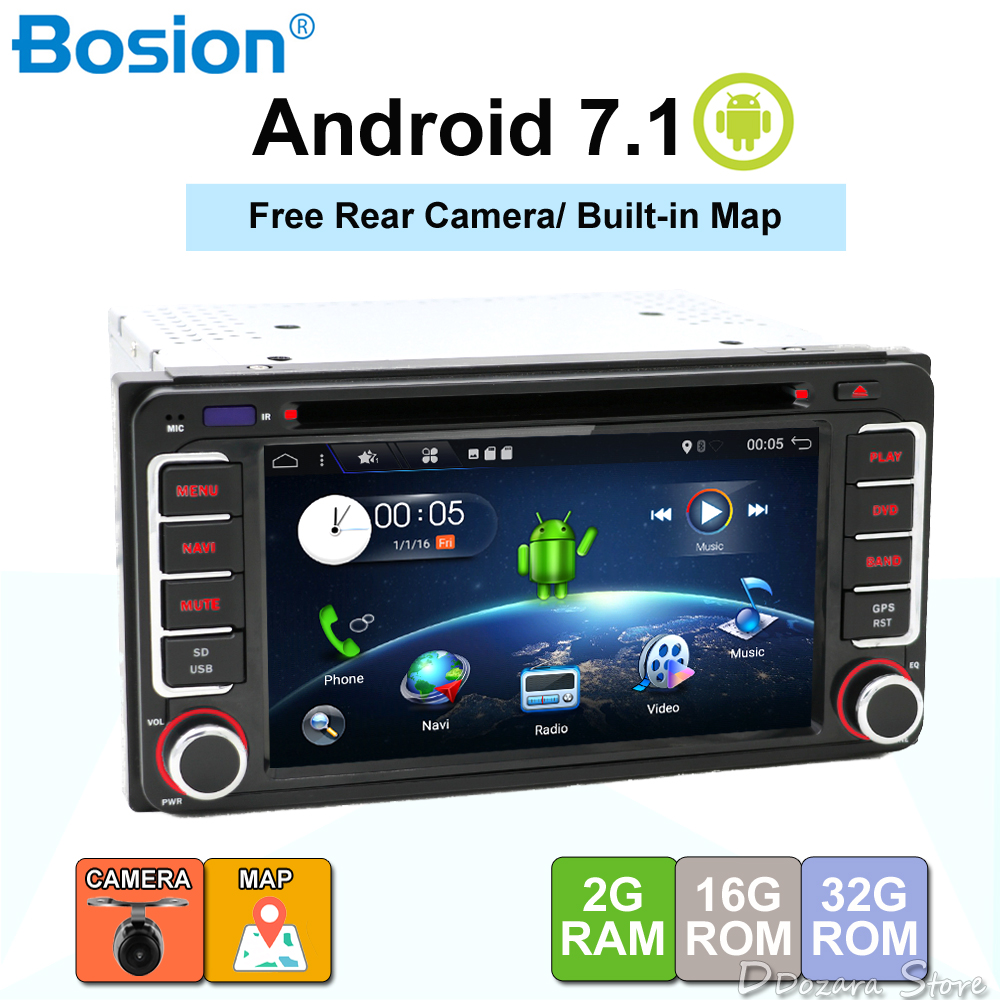 Android 7.1 lecteur dvd de voiture pour Toyota Hilux VIOS Vieux Camry Prado RAV4 Prado 2003 2004 2005 2006 Quad Core