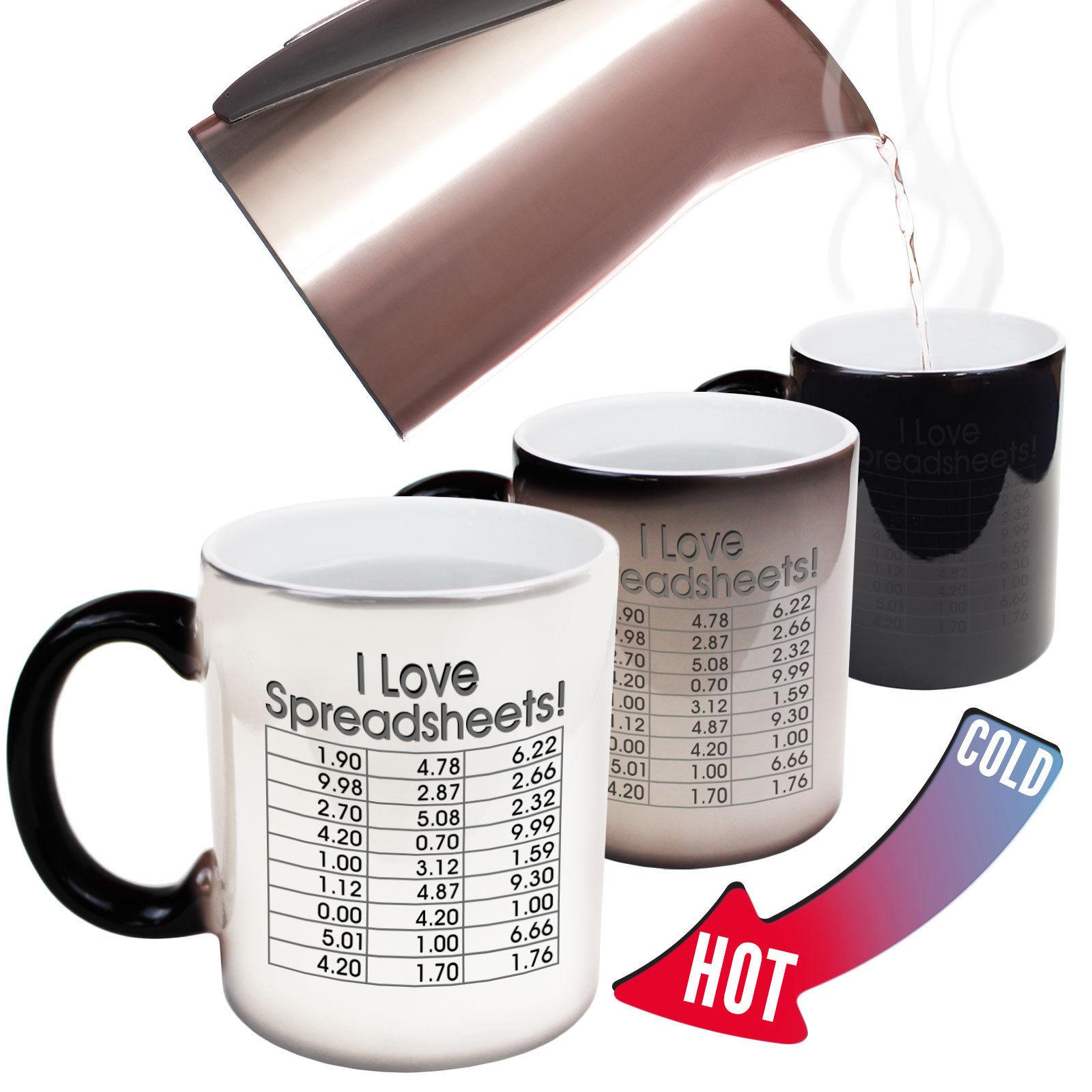 Funny Mugs I Love Spreadsheets Geek Nerd Gamer MAGIC NOVELTY MUG