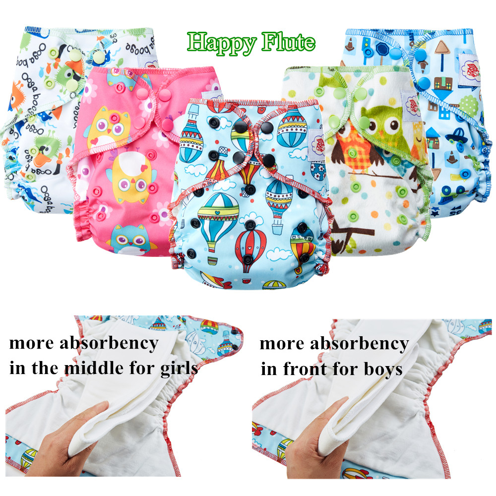 Happy Flute Overnight AIO Cloth Diaper Heavy Wetter Resuable Diapers for Baby Breathable and Stay Dry Suede Cloth Inner