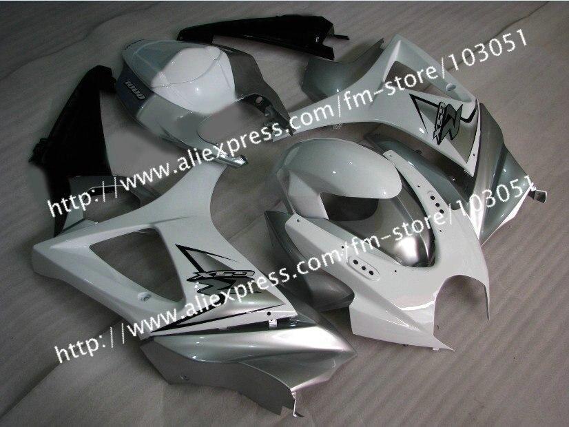 7 подарки кузова обтекатели для 2007 Сузуки GSXR 1000 К7 2008 gsxr 1000 зализа 07 08 глянцевый белый с серебром Dr13