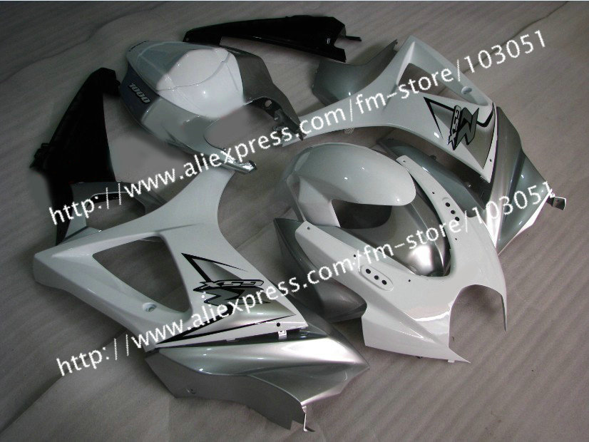 7 gifts body work for 2007 SUZUKI GSXR 1000 fairings K7 2008 gsxr 1000 fairing 07 08 glossy white with silver Dr13