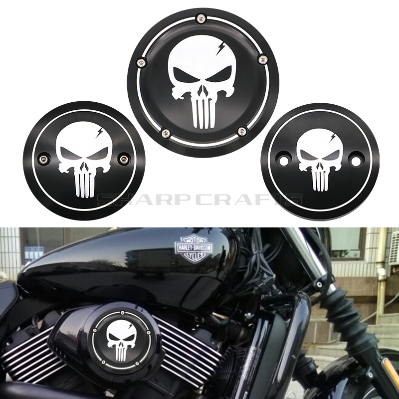 Motorcycle Skull Derby Timer Cover Timing Cover Engine Side Air Cleaner Cover For Harley Street XG500