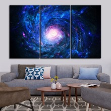 Top-Rated Canvas Print 3 Piece Space Milky Way Painting Modern Artwork Home Decorative Living Room Or Bedroom Wall Framework