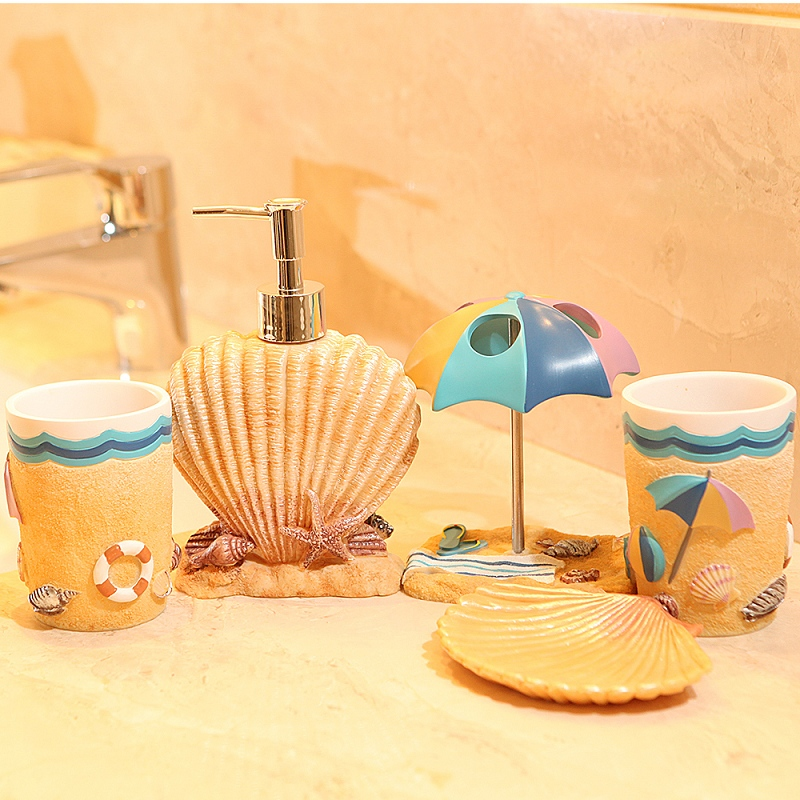 Five Pieces Resin Bathroom Set Fashion Summer Beach Subject Accessories