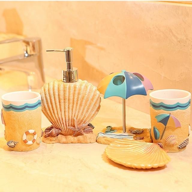 Five Pieces Resin Bathroom Set Fashion Summer Beach Subject Accessories
