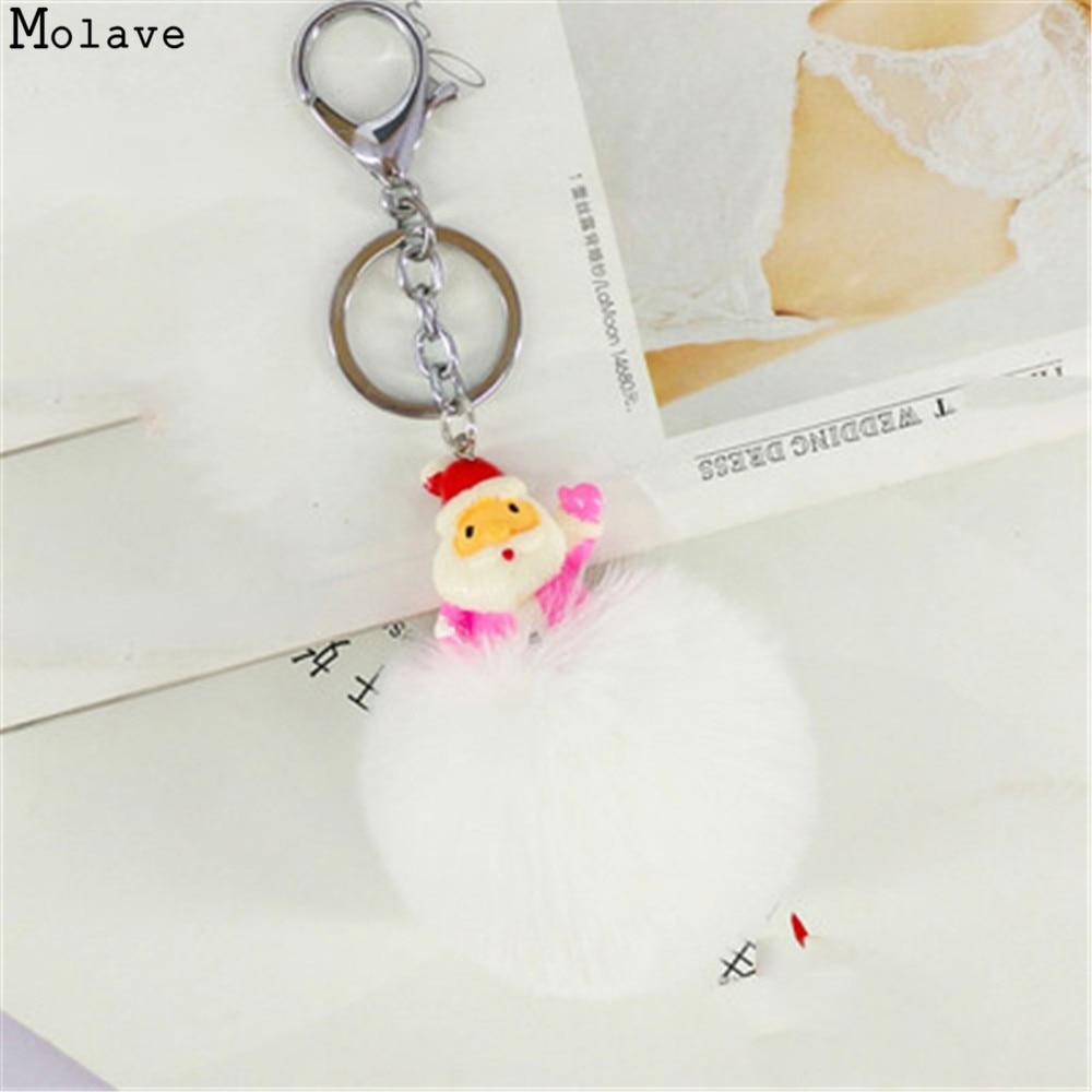 Christmas Pompom Keychain Round Fake Rabbit Fur Ball Key Chain With Santa Cute Women Bunny Keychains Keyring Decorator se203