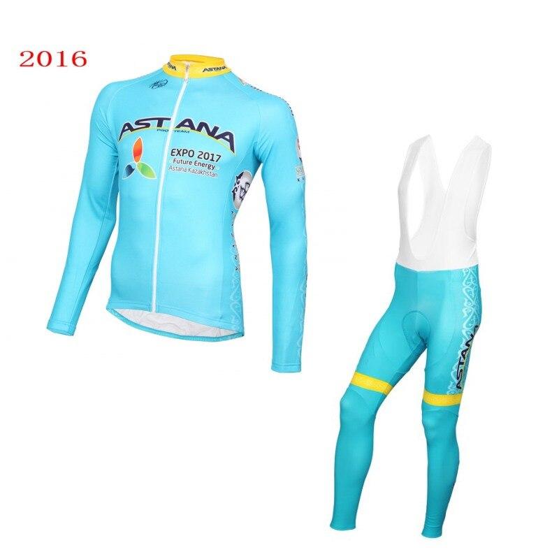ФОТО winter thermal fleece pro Team ASTANA warmer cycling jerseys Ropa Ciclismo long sleeve cloth quick dry MTB Bicycle maillot GEL