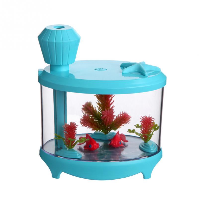 LED USB Mini Fish Tank Humidifier Cartoon 460ml Capacity Purifier Night Light for home decor and Increase humidity usb rechargeable touch sensor led cartoon birdcage night light