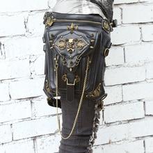 Steel Master Punk Gothic Skull Shoulder Bag Men And Women Personality Leg Bag Fashion Rivet Messenger Shoulder Waist Bag