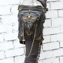 Steel Master Punk Gothic Skull Shoulder Bag Men And Women Personality Leg Bag Fashion Rivet Messenger Shoulder Waist Bag