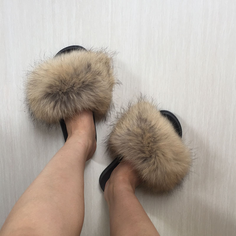 0957aac1061e Women Fur Slippers Autumn Winter Real Raccoon Fur Beach Sandal Shoes Fluffy  Comfy Furry Flip Flops-in Slippers from Shoes on Aliexpress.com