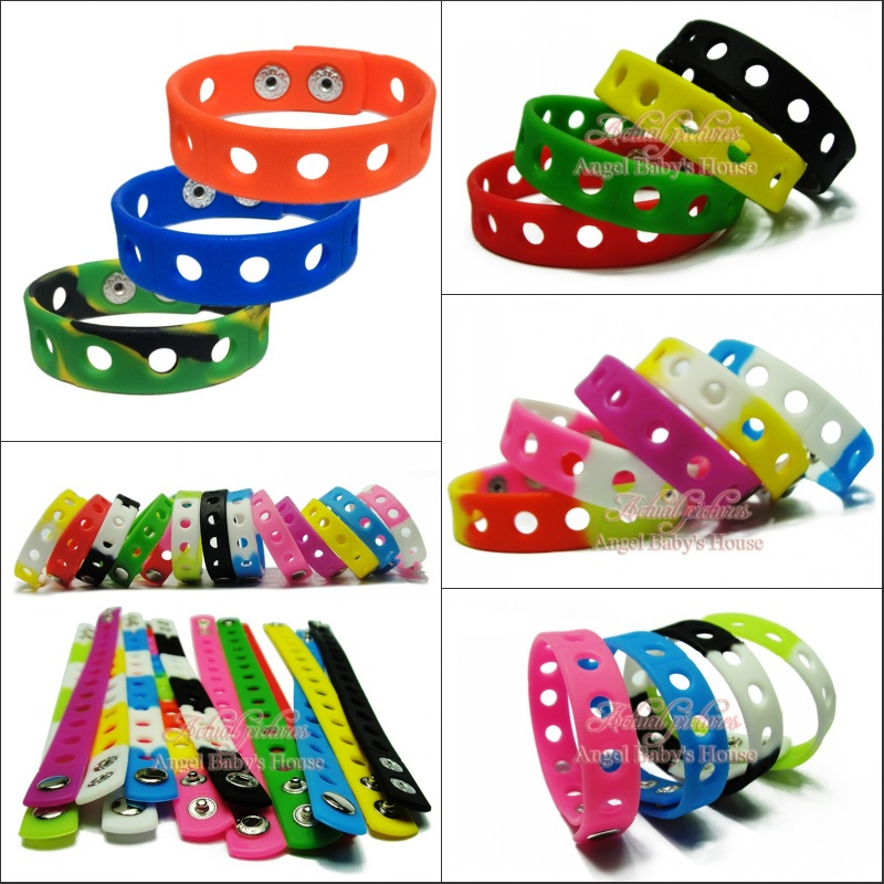 Free Dhl/ems 200pcs 18cm Mixed 14 Colors Silicone Wristbands Soft Bracelets Bands For Shoe Charms Croc,kids Party Favors Be Novel In Design Furniture