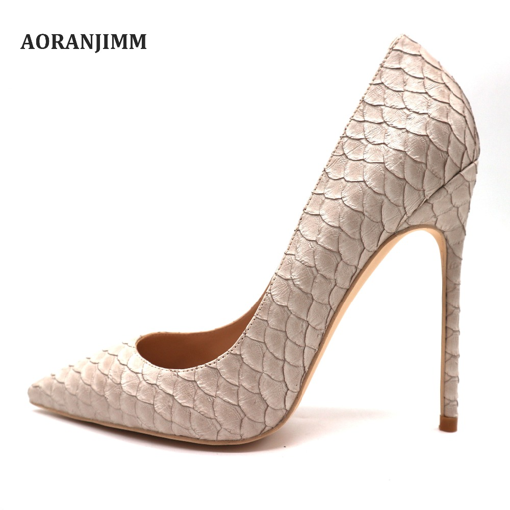 Free shipping real pic discount brand AORANJIMM beige python snake pointed toe women lady plus size small size high heel shoes-in Women's Pumps from Shoes    1