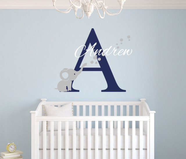 Custom Name Elephant Wall Stickers For Kids Room Personalized Boys Bedroom Nursery Art Pic