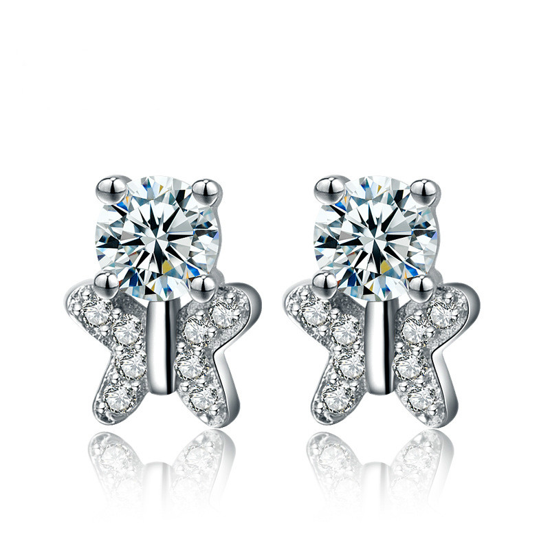 S925 Sterling Silver Butterfly Single Diamond Earrings Fashion OL Zircon Korean Earrings Jewelry