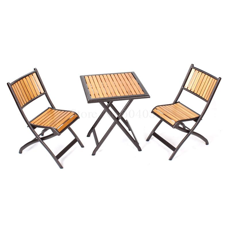 Courtyard Solid Wood Table And Chairs Coffee Bar Outdoor Folding Balcony Outdoor Table And Chair Set(China)