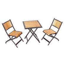 Стол и стулья из твердой древесины для двора, открытый складной столик и стул для балкона