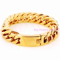 Popular 22CM*17MM Charming Mens Boys Wristband Jewelry 316L Stainless Steel Yellow Gold Cuba Link Chain Bracelet Heavy 122g