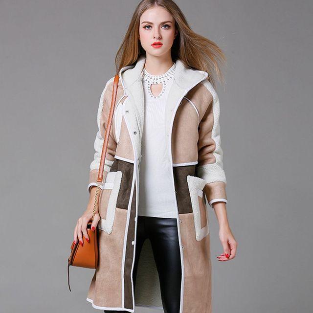 Высокое качество с капюшоном траншеи пальто женщин осень зима толстые длинные плюшевые бархат Ветровка леди свободные сращивания толстовки пиджаки X6266