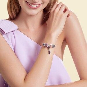 Image 4 - Athenaie original Murano Glas 925 Silber Core Fünf Petaled Blumen Charme Perlen Fit Pandora Armbänder und Halsketten Farbe Lila