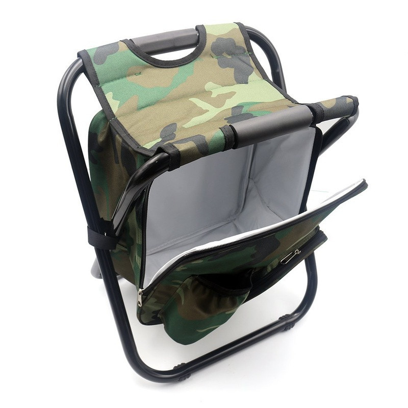 Camouflage Portable Folding Camping Stool Backpack Cooler Chair Outdoor Fishing