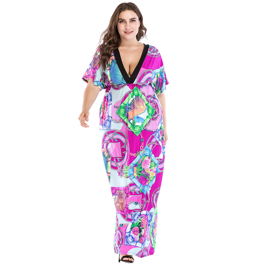 New Women Plus Size Dress Colorful Floral Printed Deep V Neck Elastic High Waist Maxi Gown Beach Holiday Wear Dresses Vestidos