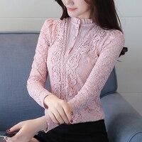 2018 nueva primavera mujeres elegante flores del cordón de empalme blusa rosa rojo soporte cuello ahueca hacia fuera la camisa delgada tops trabajo ropa