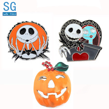 SG New The Nightmare Before Christmas Brooches Jack Sally Skull Pumpkin Corpse Bride Badge Lapel Pins Men Halloween Jewelry Gift недорого