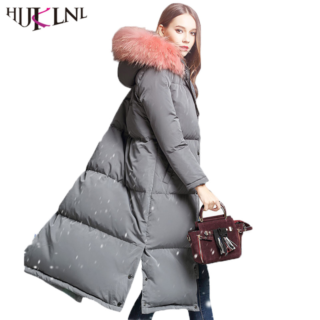 4614eaa2769be HIJKLNL camperas mujer abrigo pluma Women Winter Thick Long Down Jacket  Coat 2019 Hood Real Fox Fur Duck Down Jacket Parka LZ830