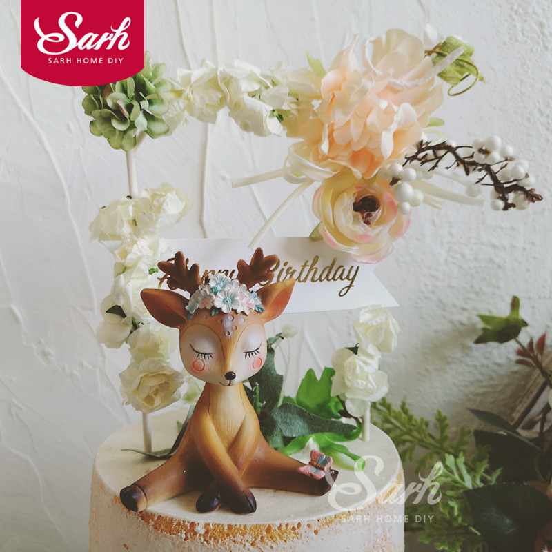 Amazing Romantic Beautiful Sika Deer Flower Arch Cake Decorations Birthday Birthday Cards Printable Inklcafe Filternl