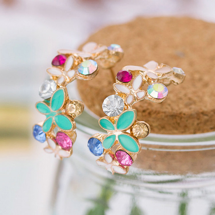 1 Pair!  New Fashion For Women Lady Elegant Crystal Rhinestone Stud Earrings Delicate Irises Earrings