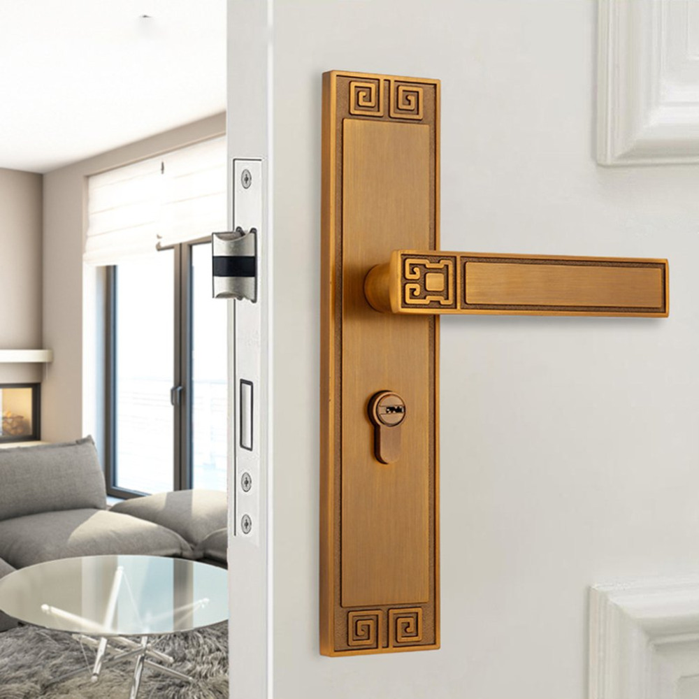 Indoor mute door lock Modern fashion brushed goldbedroom bookroom door lock Sash Security Swing Lock Latch Home Housing Safely